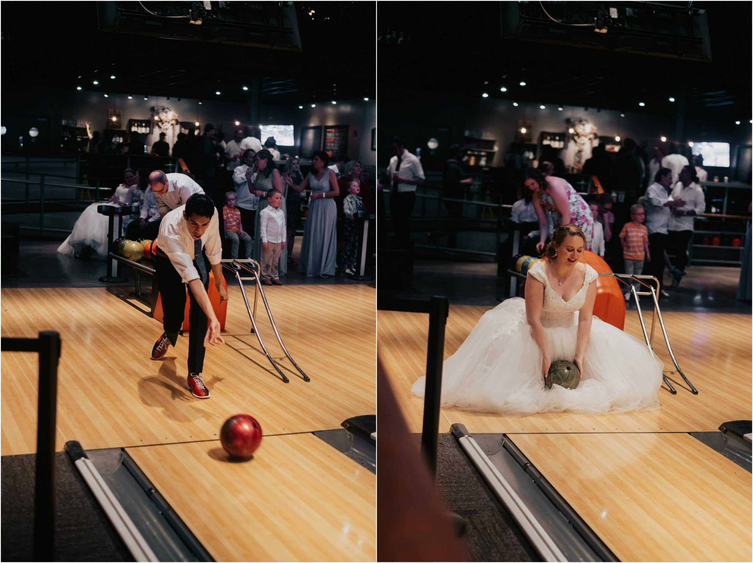 bride and groom bowling