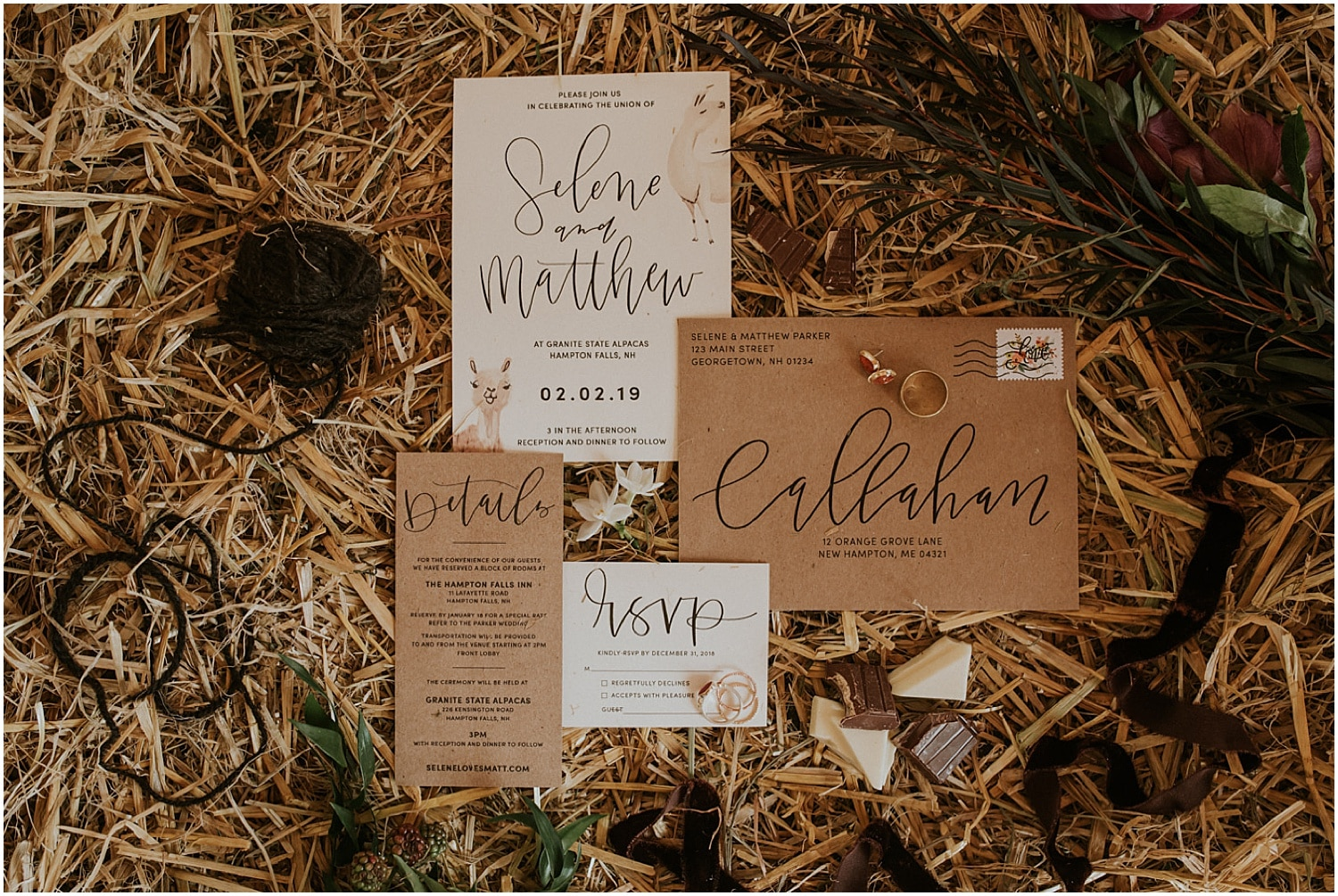 close up of invitation suite and chocolate at this Farm Elopement Inspiration