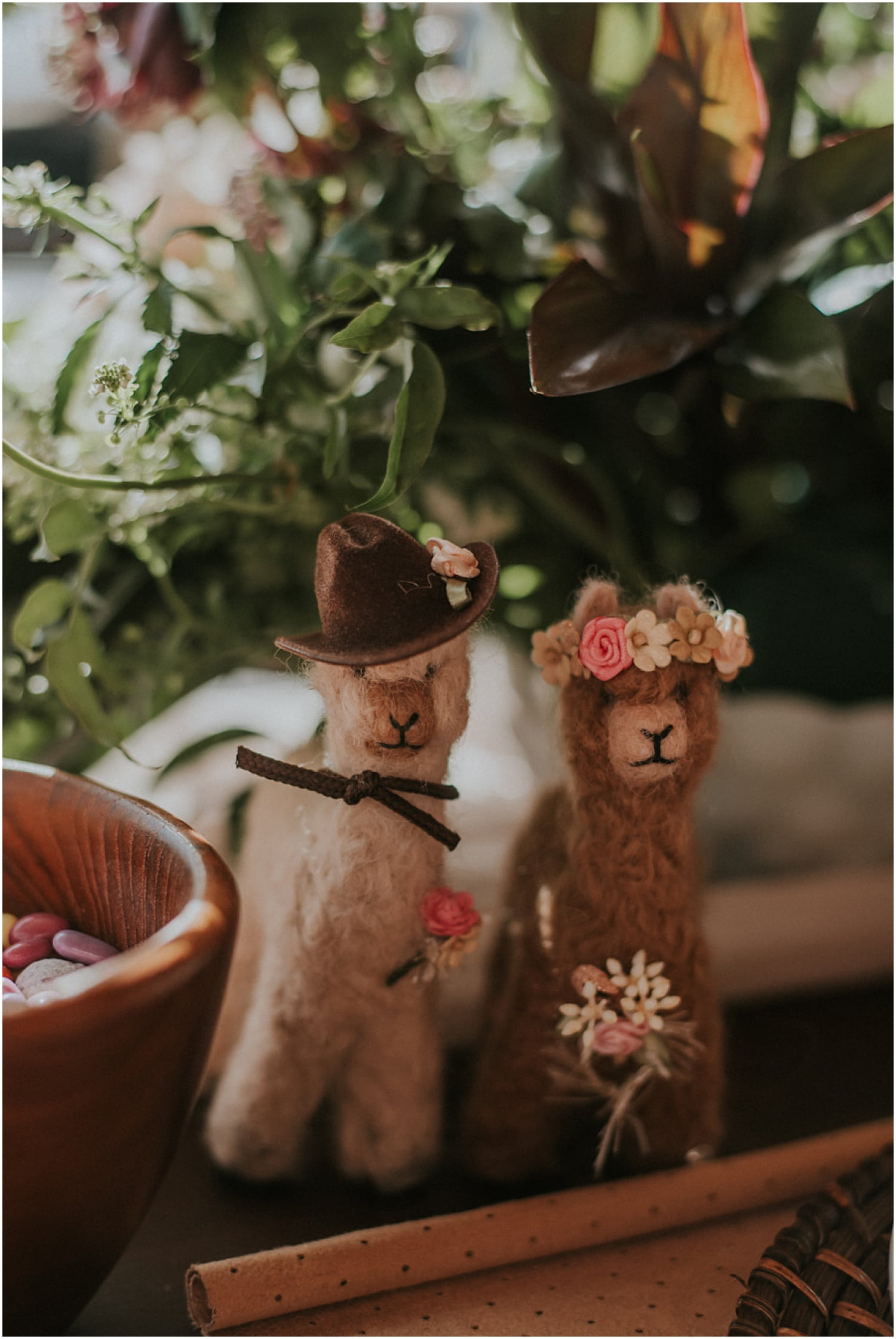 felt alpacas of the bride and groom at the Farm Elopement Inspiration