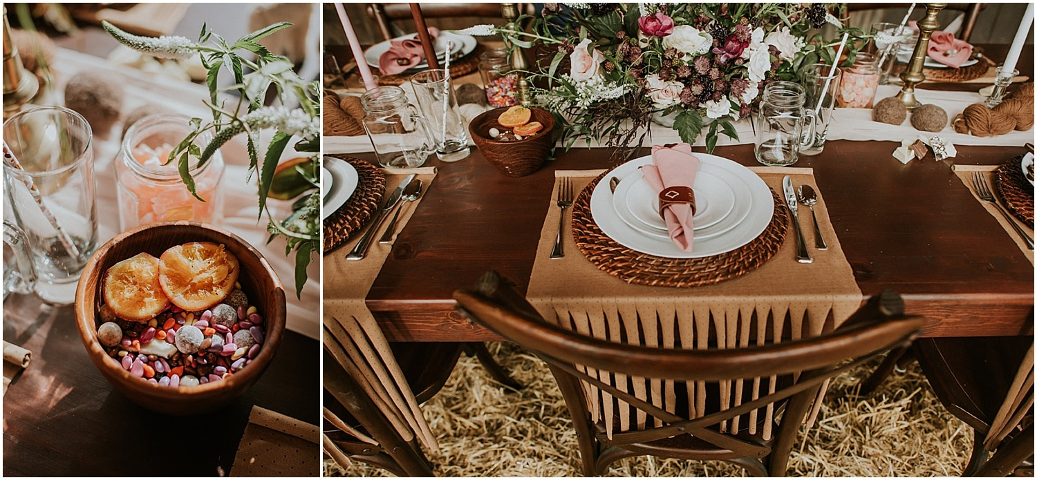 fresh fruits and soft pastels at this Farm Elopement Inspiration