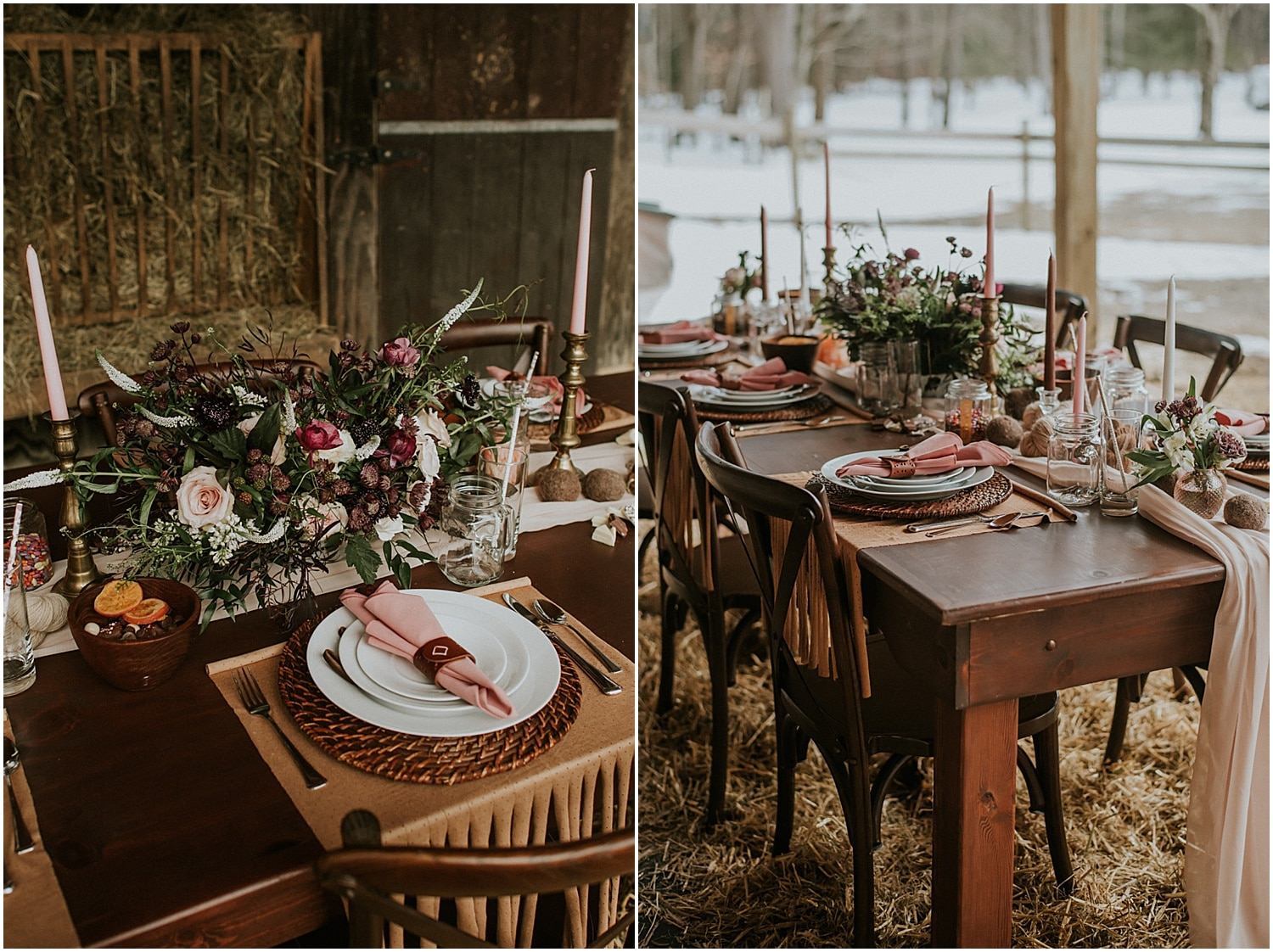 wildflower tablescapes of this Farm Elopement Inspiration
