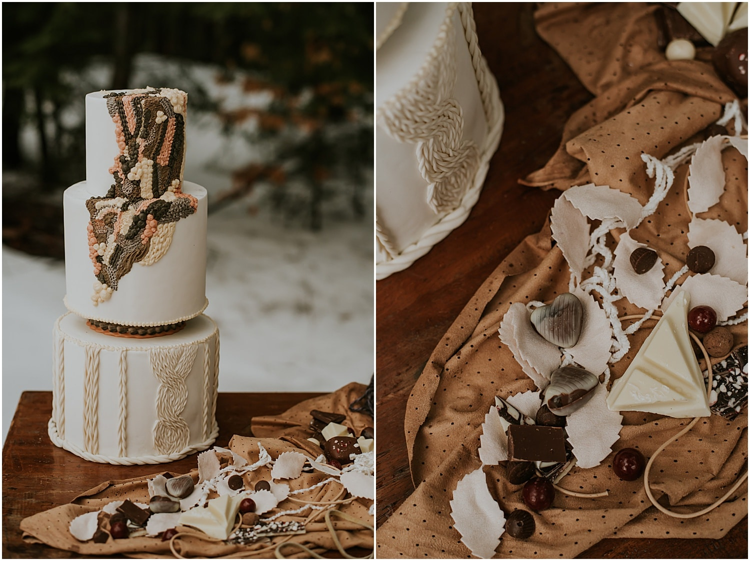 a yarn decorated cake for this inspiration shoot