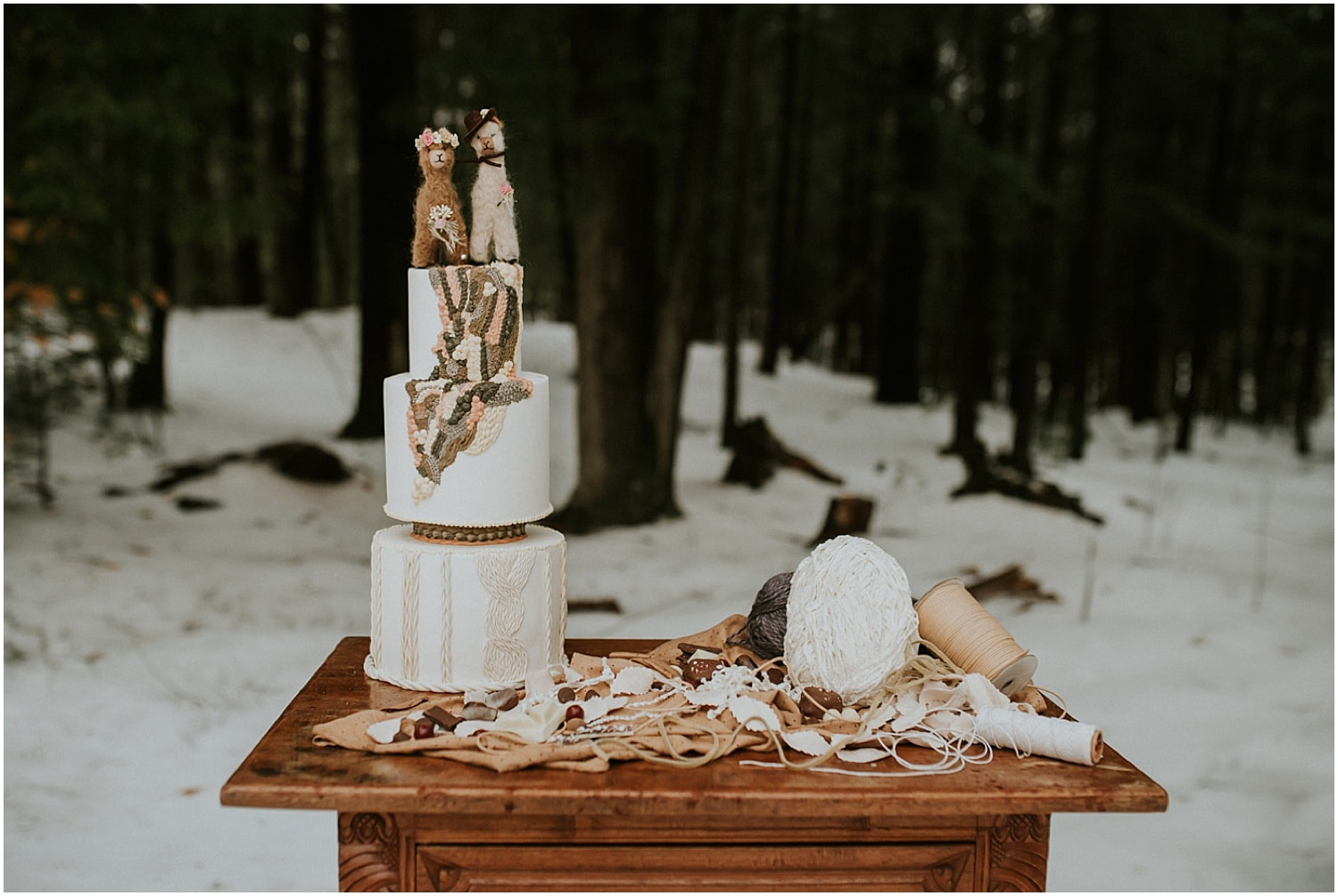 yarn and cake at this farm elopement inspiration