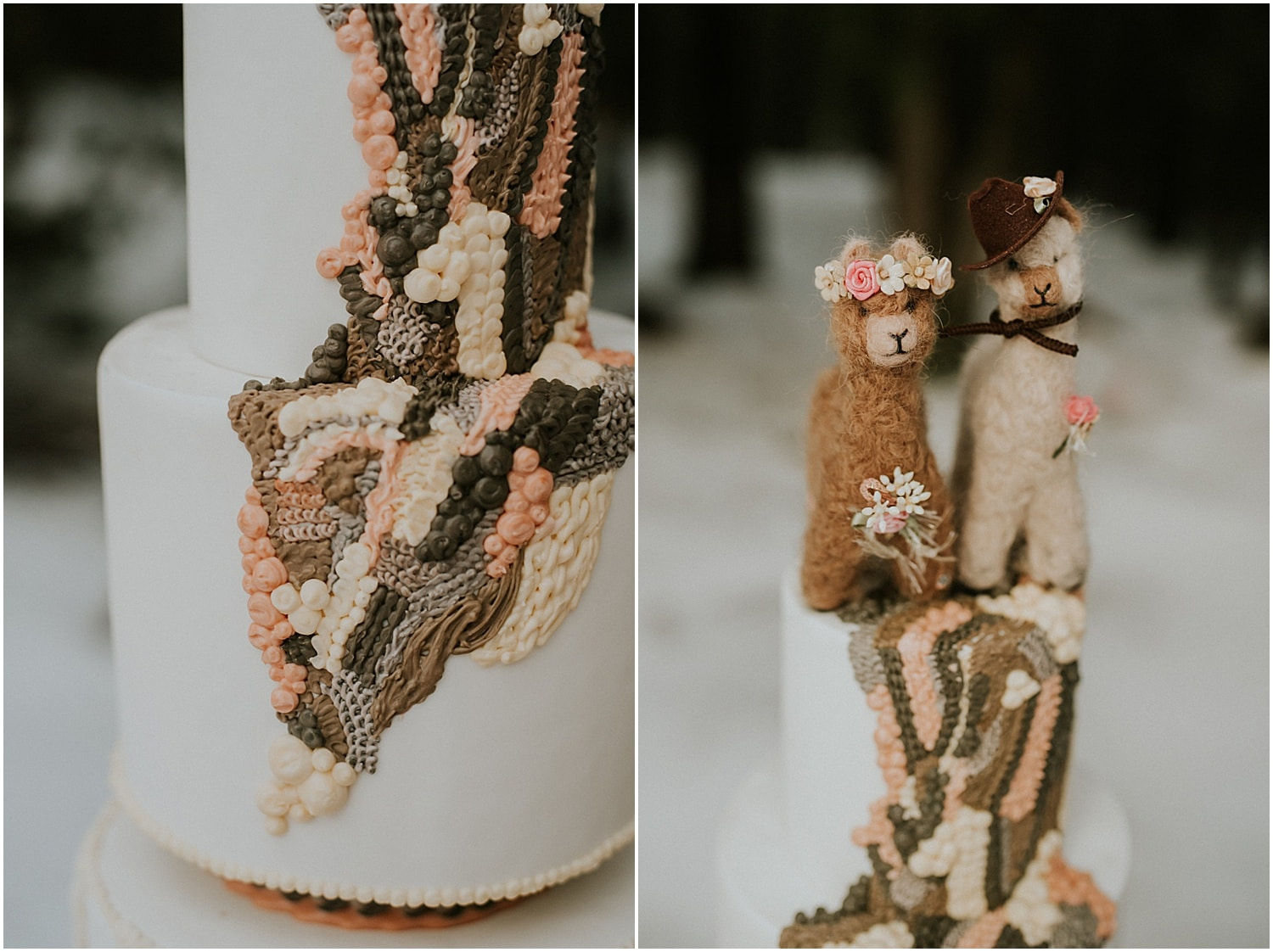 close up of yarn detail on this farm inspired cake