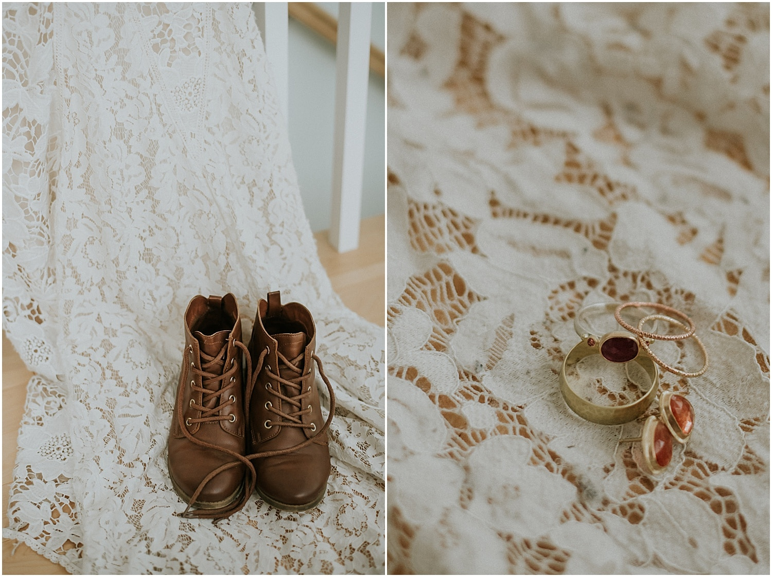 rustic boots on the bride's lace dress