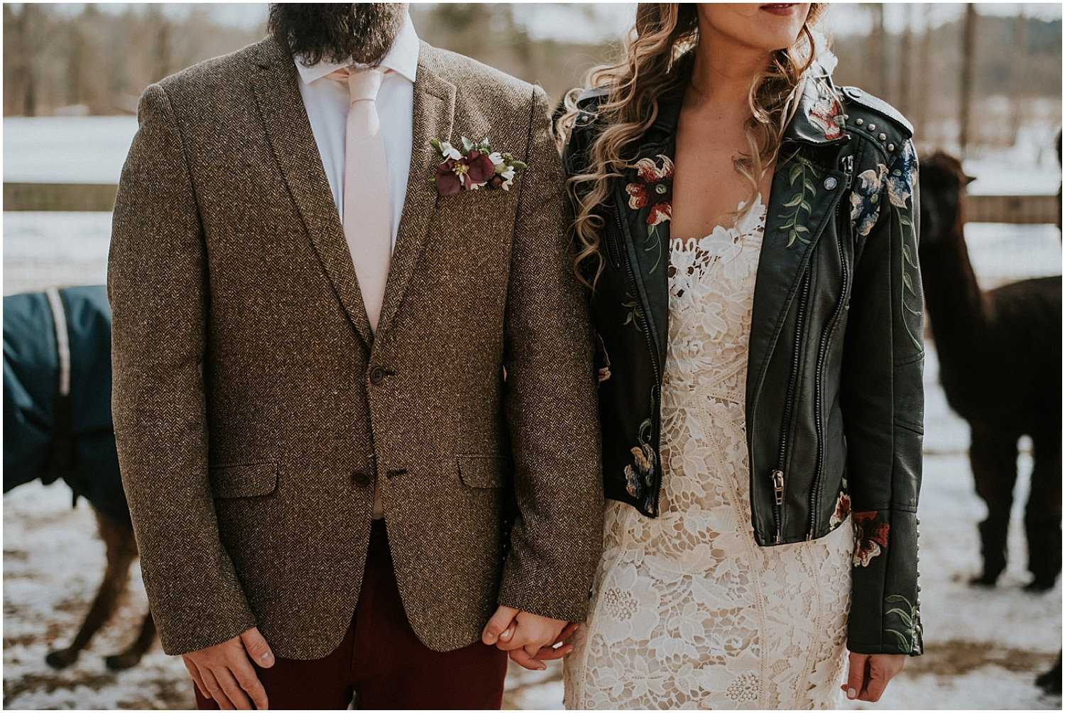 detail shots of the bride and groom at this farm elopement inspiration shoot