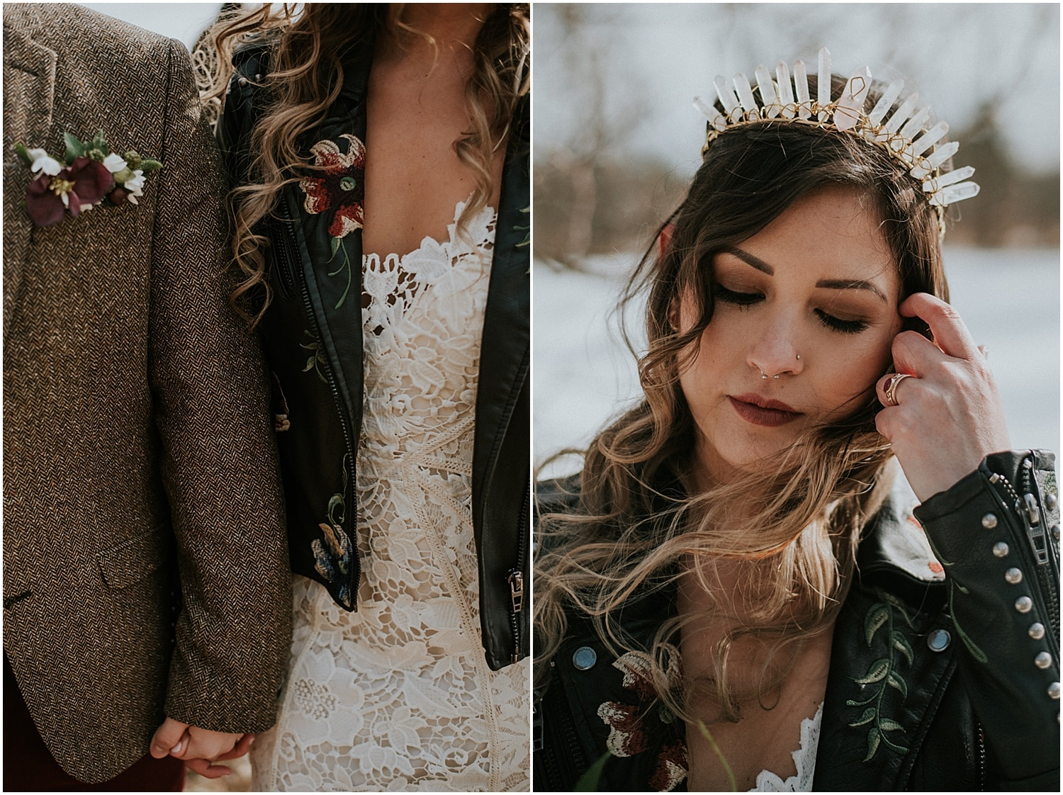 close up of the bride and groom at the Farm Elopement Inspiration