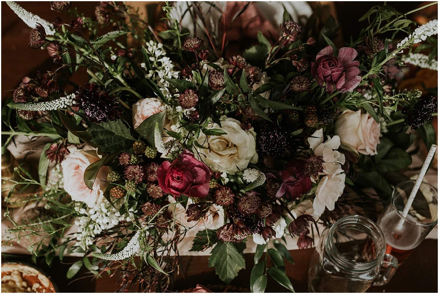 beautiful wildflowers on the table at this Farm Elopement Inspiration