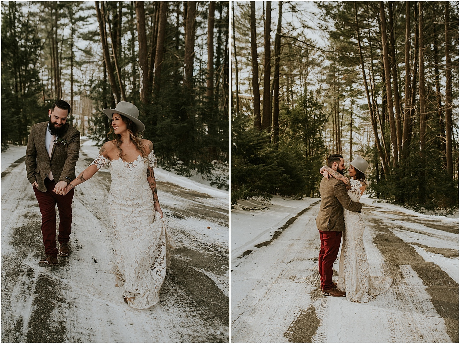bride and groom walking down the road for the photos at this farm elopement