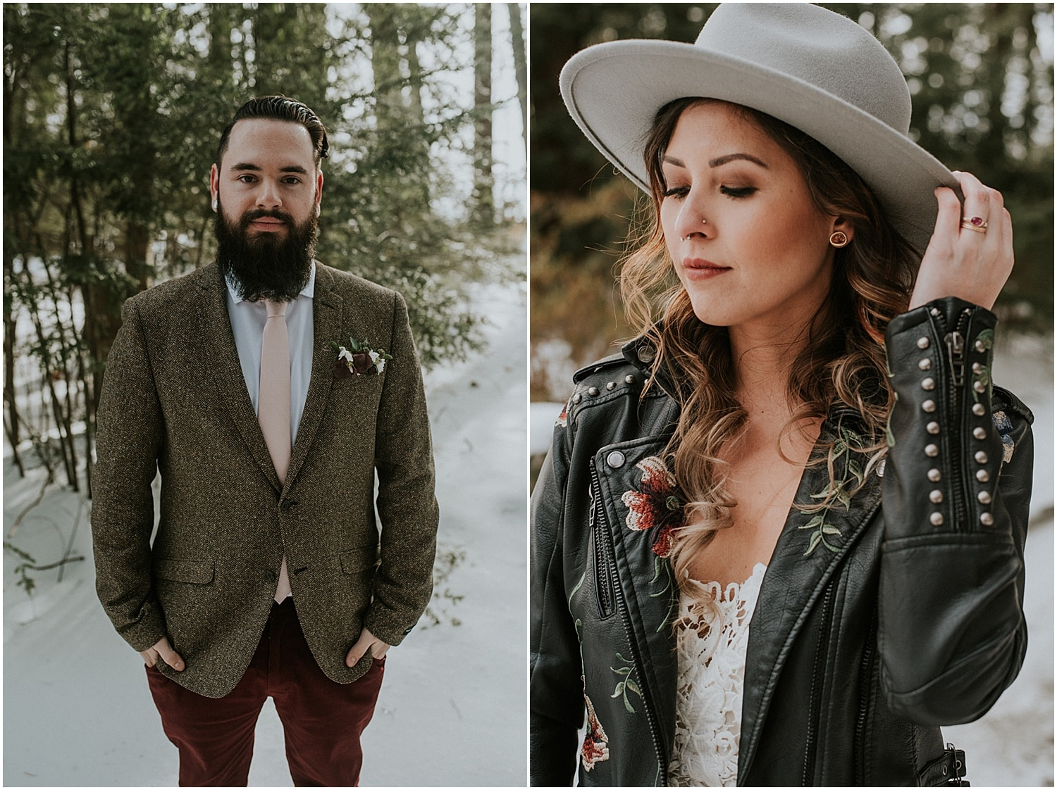 bride in a leather jacket at a Farm Elopement Inspiration