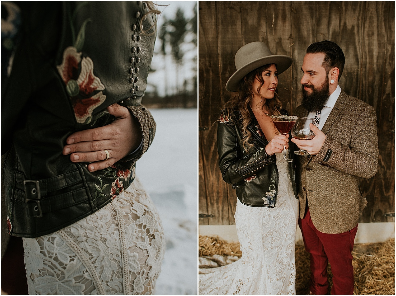 bride and groom toasting during this farm elopement inspiration