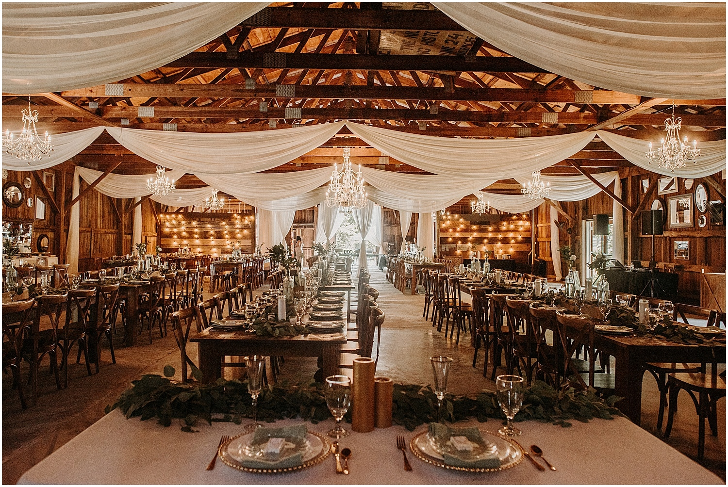 Reception set up for Barn at Silver Oaks Wedding