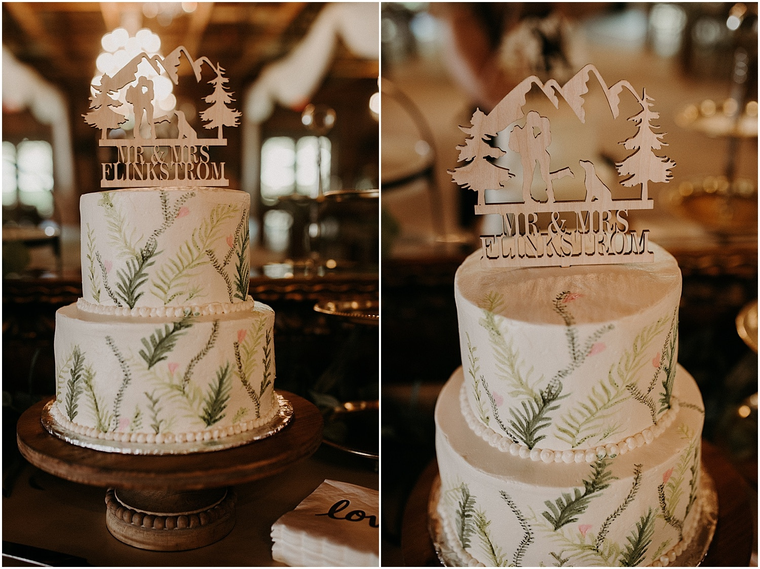 Rustic Maine Wedding cake, with leaves and wood cut topper