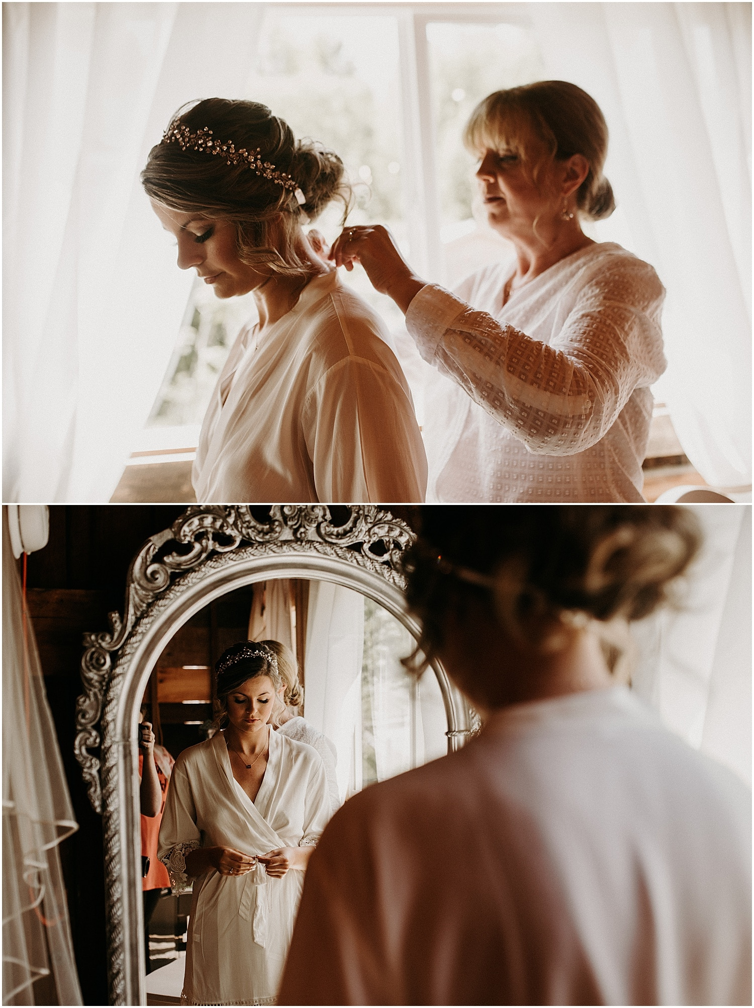 mother helping bride with finishing touches on her wedding day
