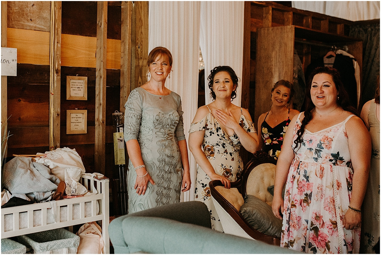 reactions of friends and family to the bride at the Barn at Silver Oaks Wedding