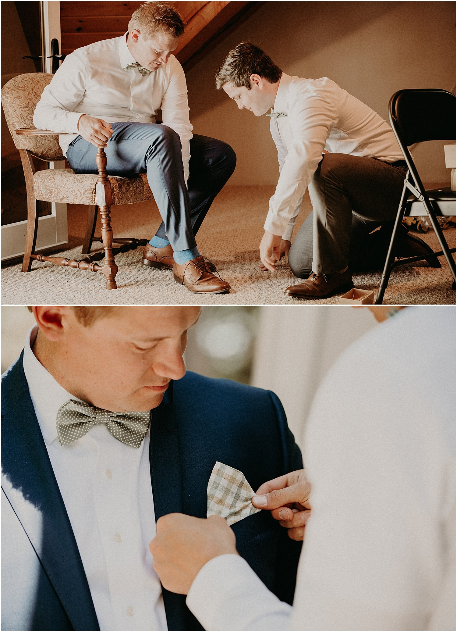 groom getting ready at a Barn at Silver Oaks Wedding