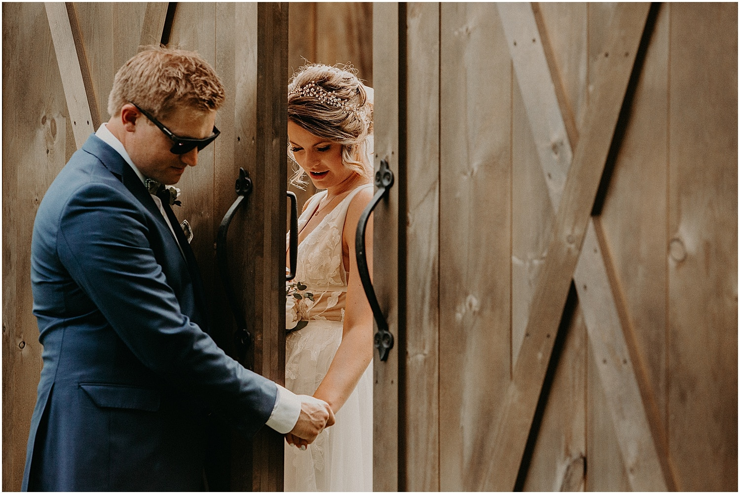 first look through the door at Barn at Silver Oaks Wedding