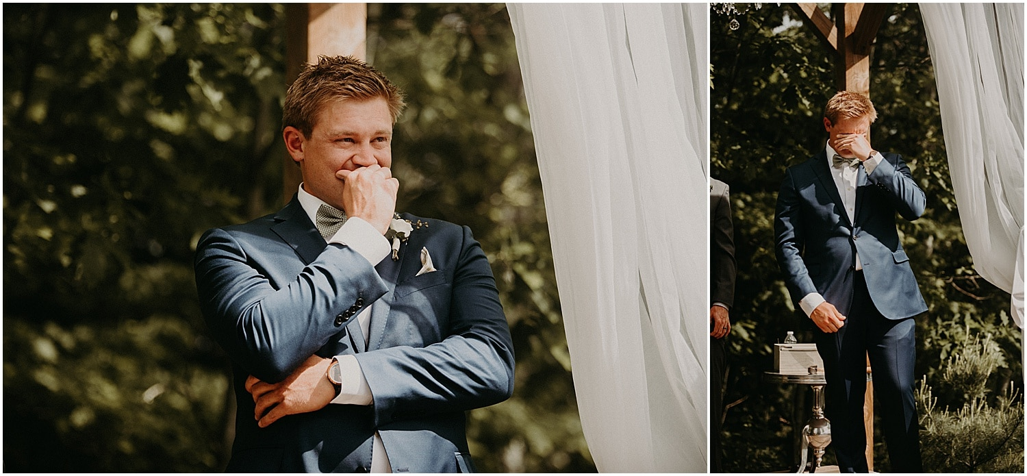 groom tearing up at the sight of his bride at their Barn at Silver Oaks Wedding