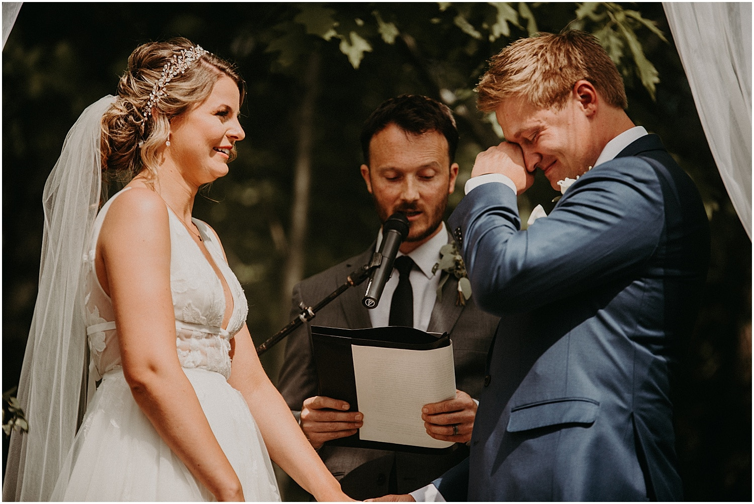 emotional moment during the ceremony of the Barn at Silver Oaks Wedding