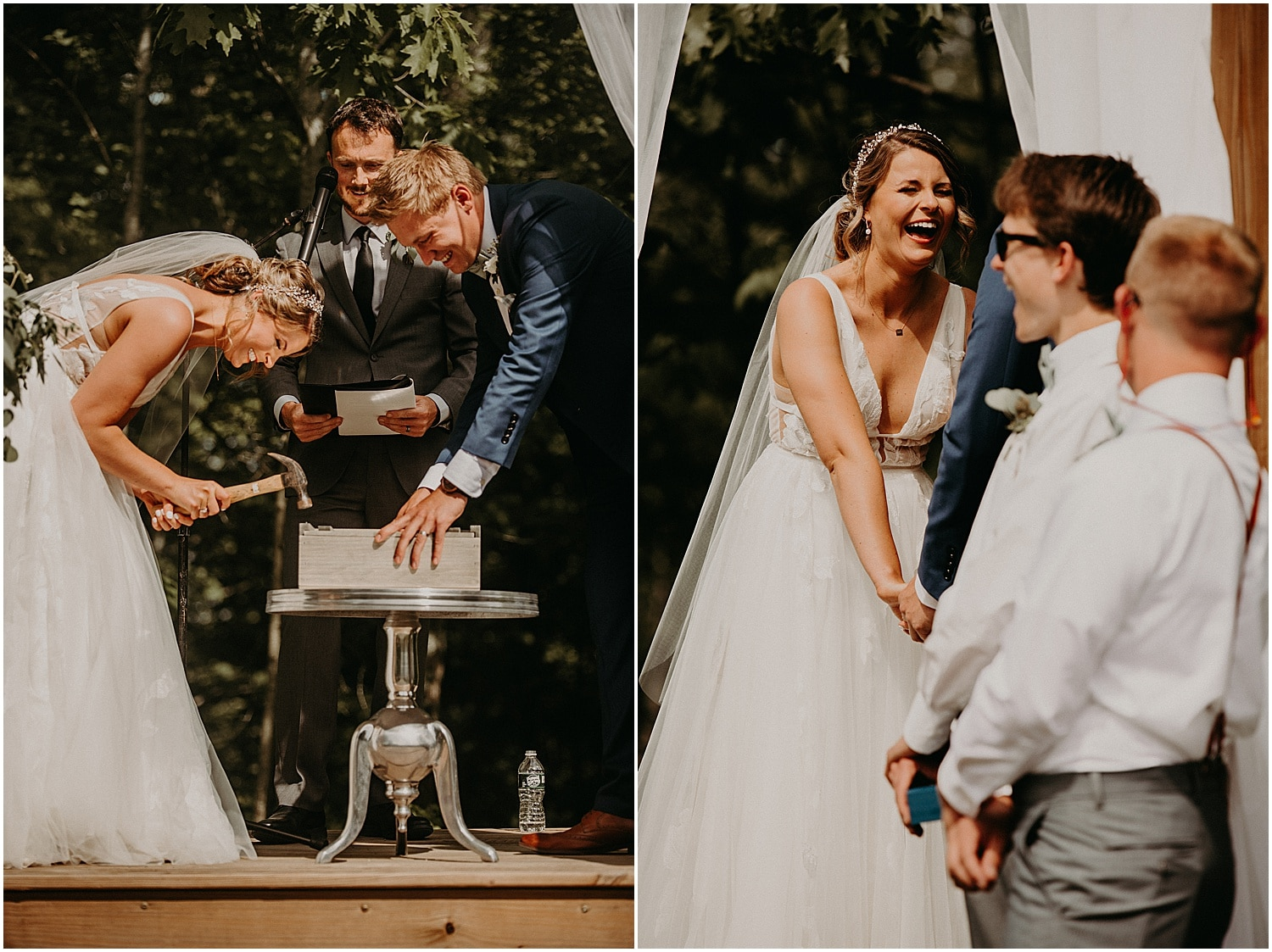 funny moments during the ceremony of a Barn at Silver Oaks Wedding