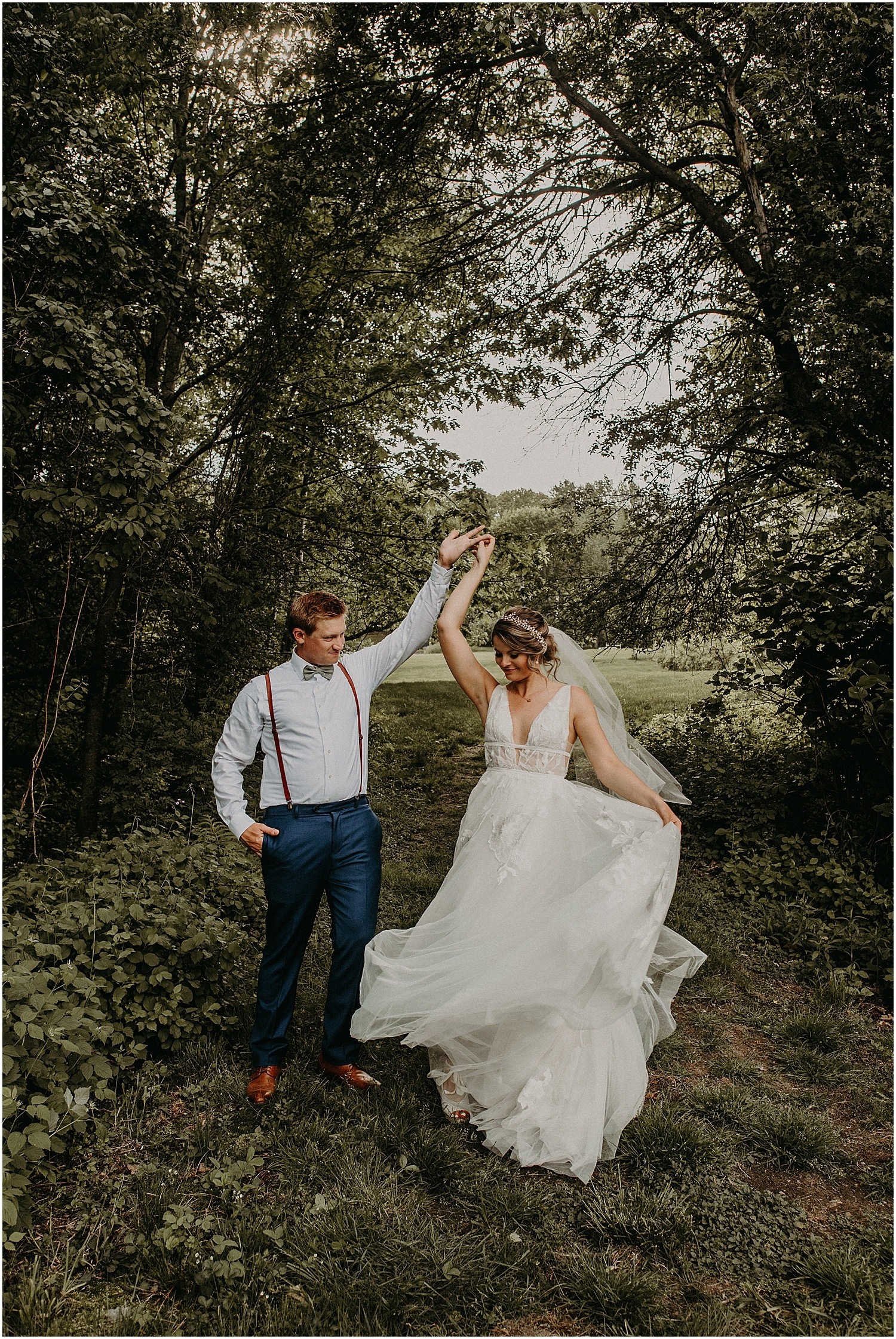 bride and groom escaping for a moment at their Barn at Silver Oaks Wedding