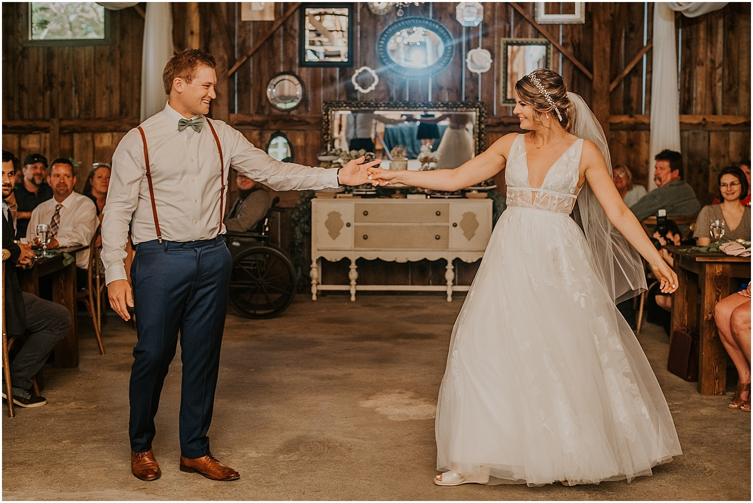 bride and groom first dance inside the barn at Barn at Silver Oaks Wedding