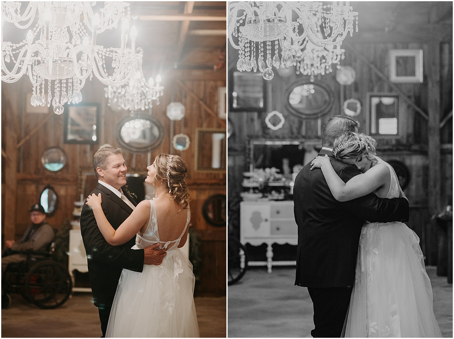 bride dancing with her father at her Barn at Silver Oaks Wedding