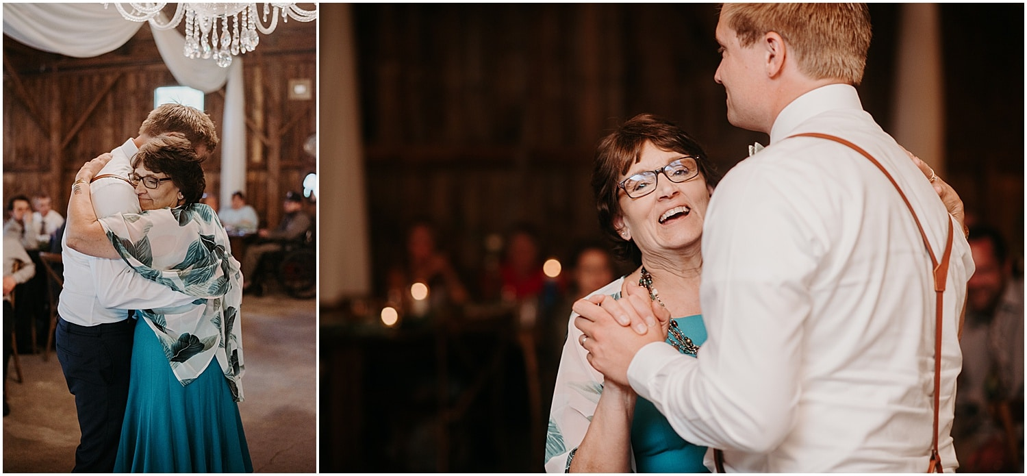 groom dancing with his mother at his Barn at Silver Oaks Wedding