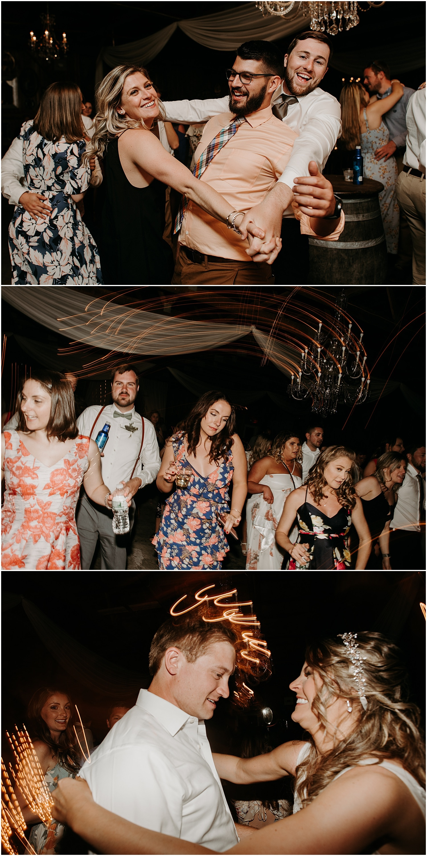 reception dance party at the Barn at Silver Oaks Wedding