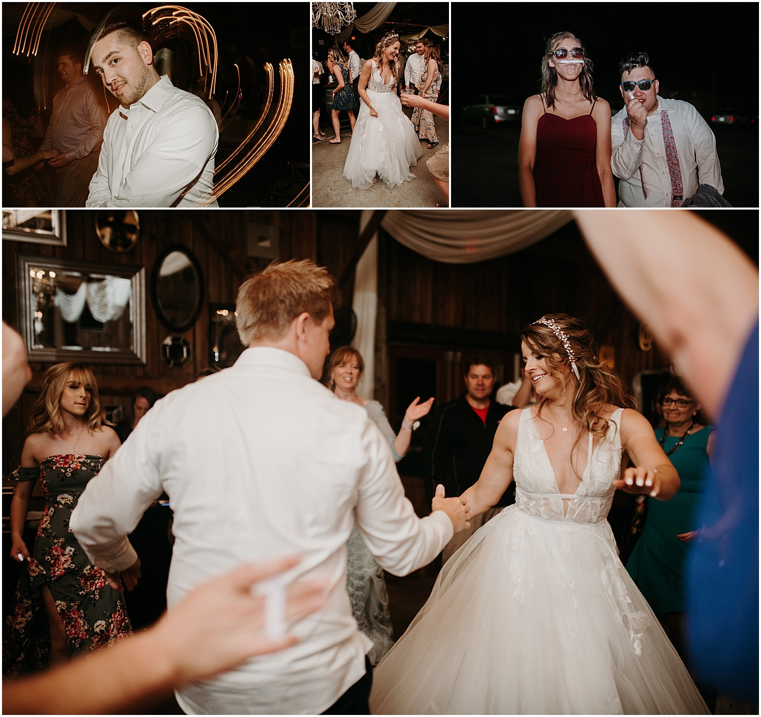 bride and groom dancing with their wedding guests at their Barn at Silver Oaks Wedding