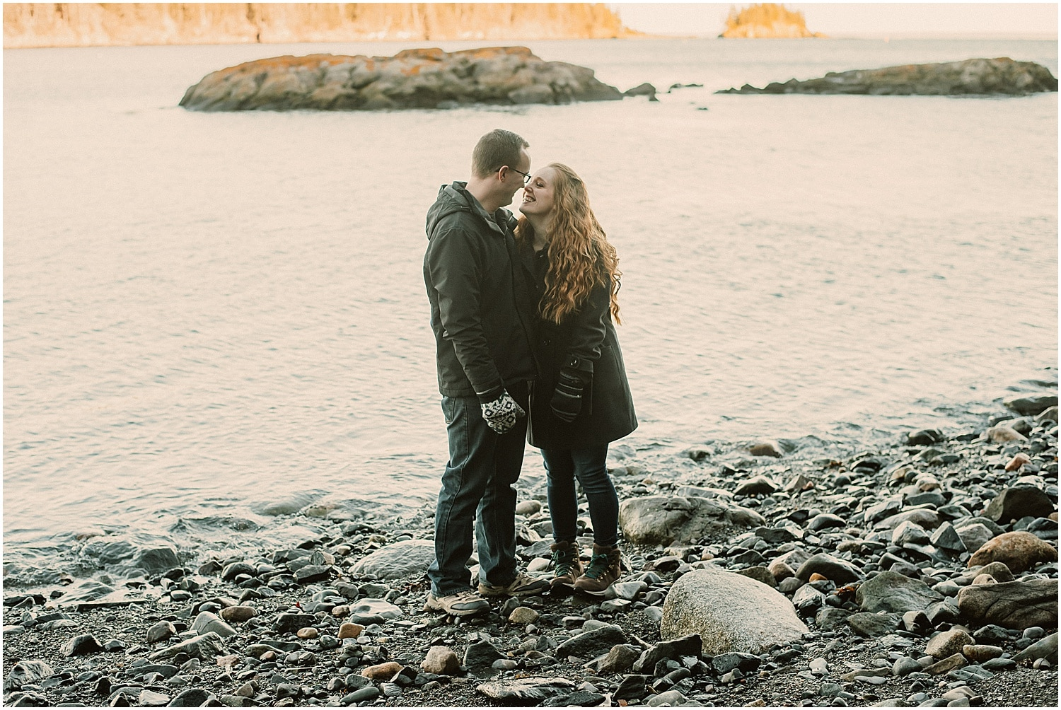 couple on the coast in eastern maine