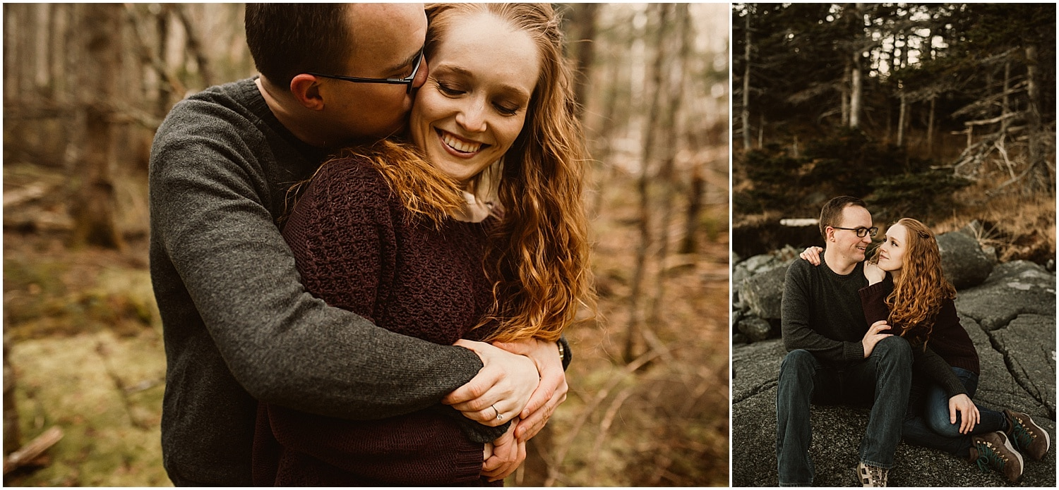 groom holding fiancé from behind during engagement photos