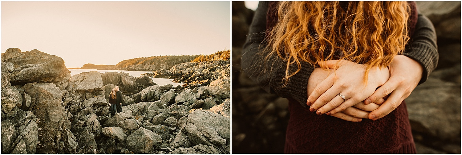 close up of held hands during engagement session