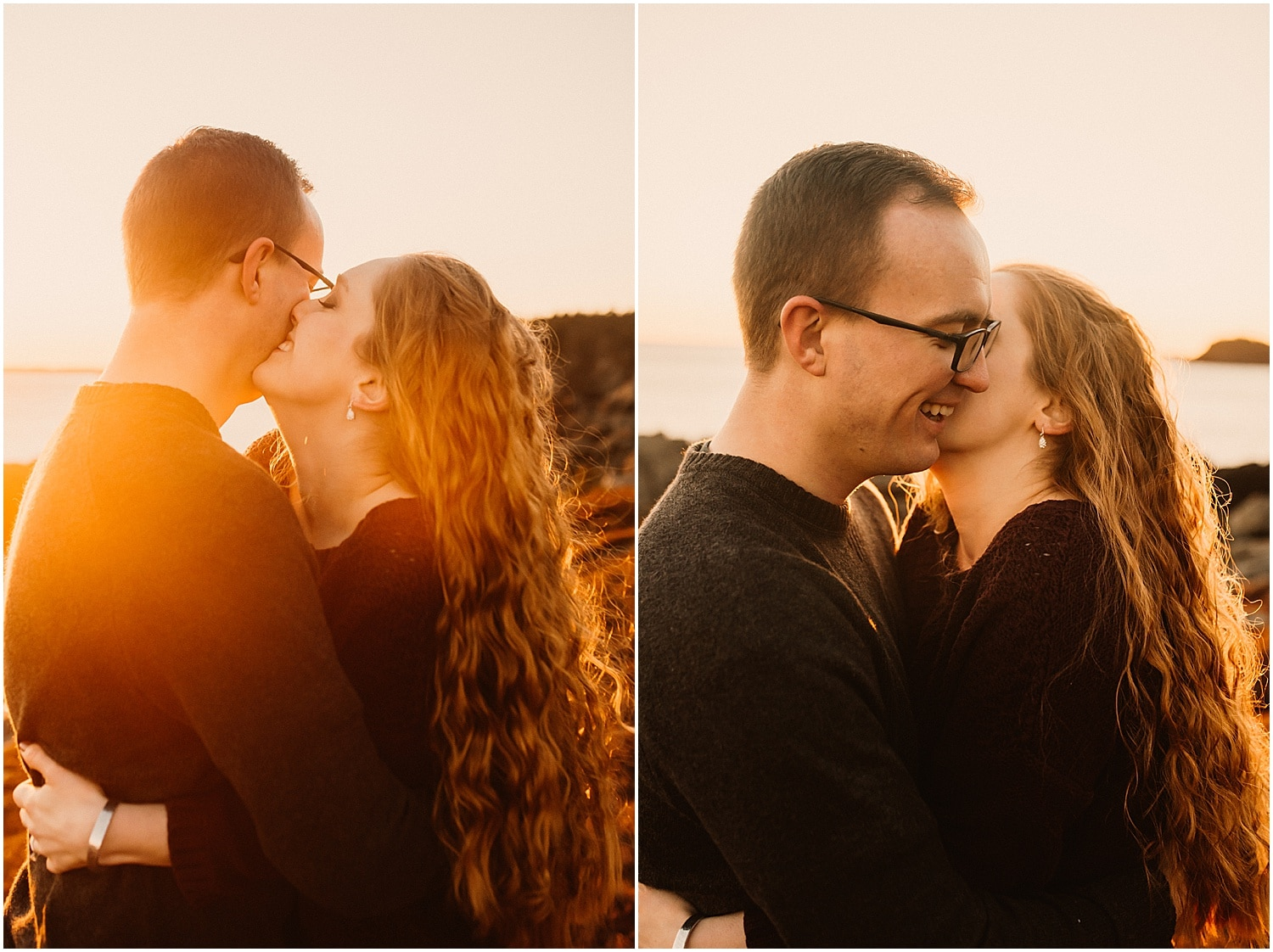 making each other laugh during their engagement photos