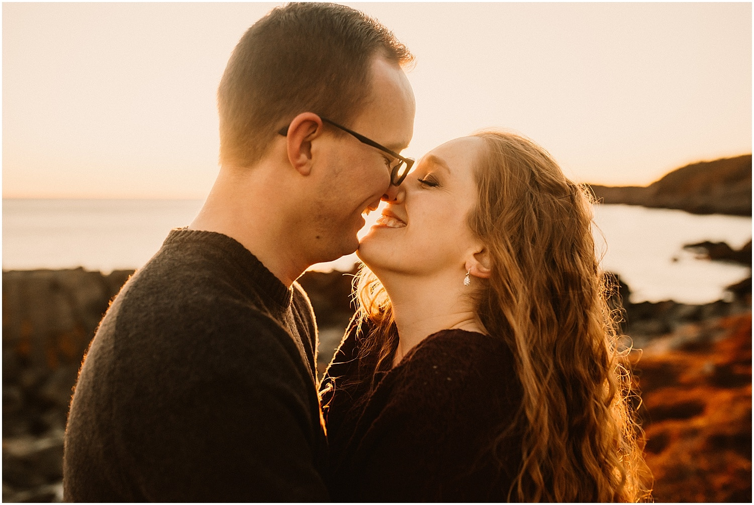 bride and groom nose to nose during their engagement session