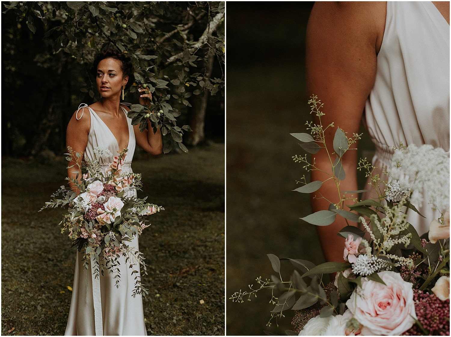 Bride nestled into a tree holding her summer bouquet at Josias River Farm Bridal shoot