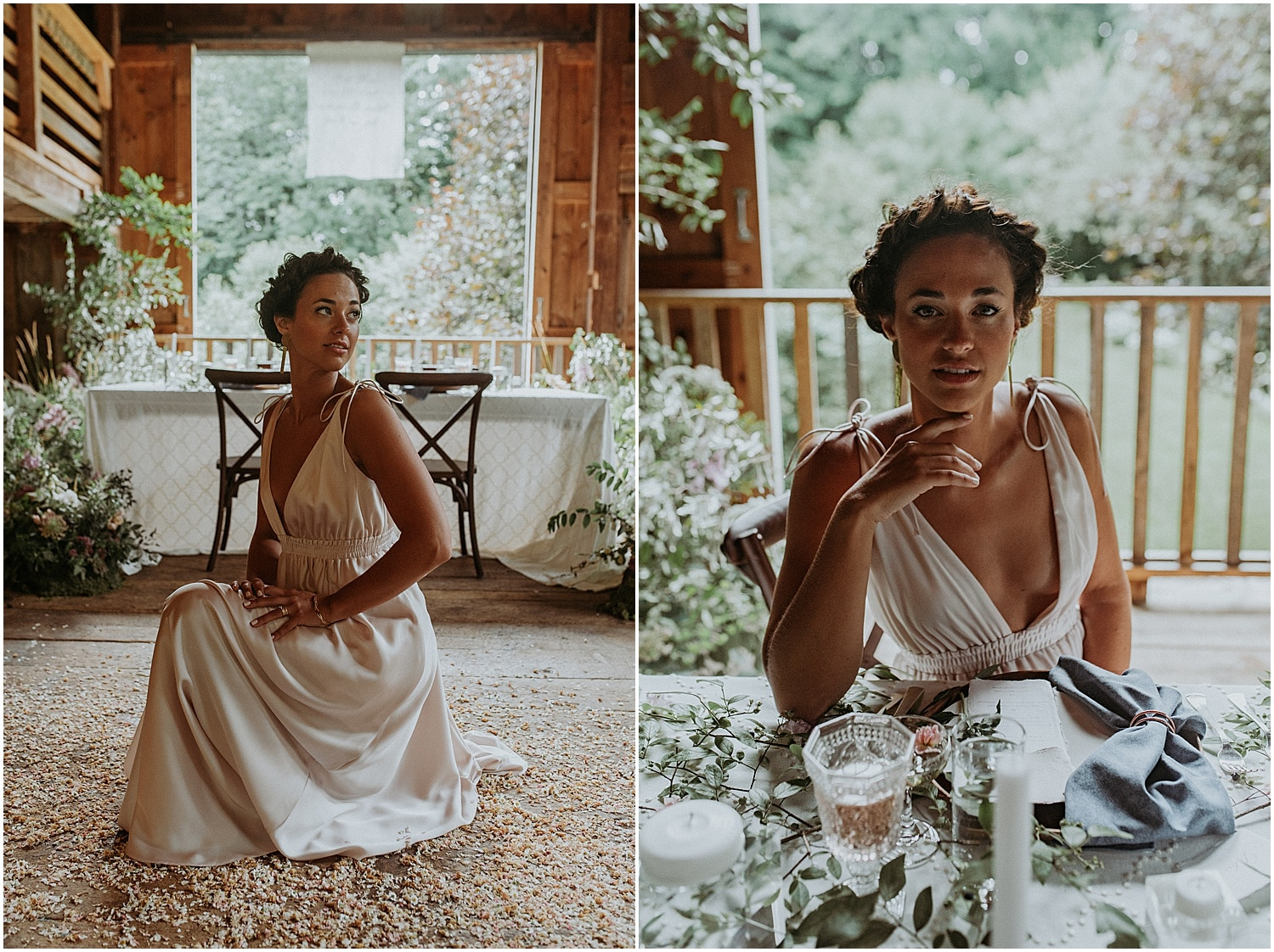 Bride at the table setting of the Josias River Farm Bridal Session