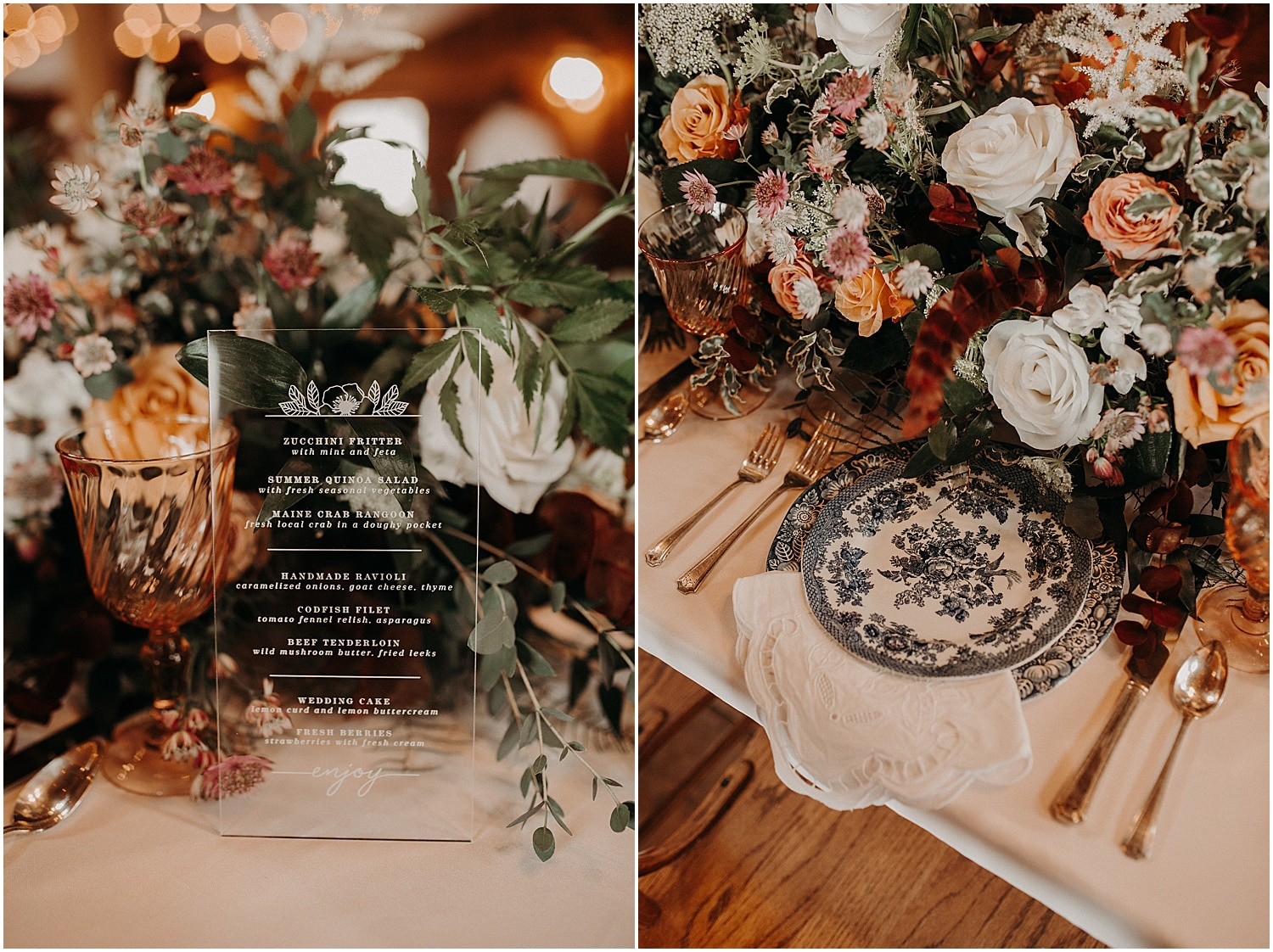 Menu printed on glass and antique china wedding inspiration