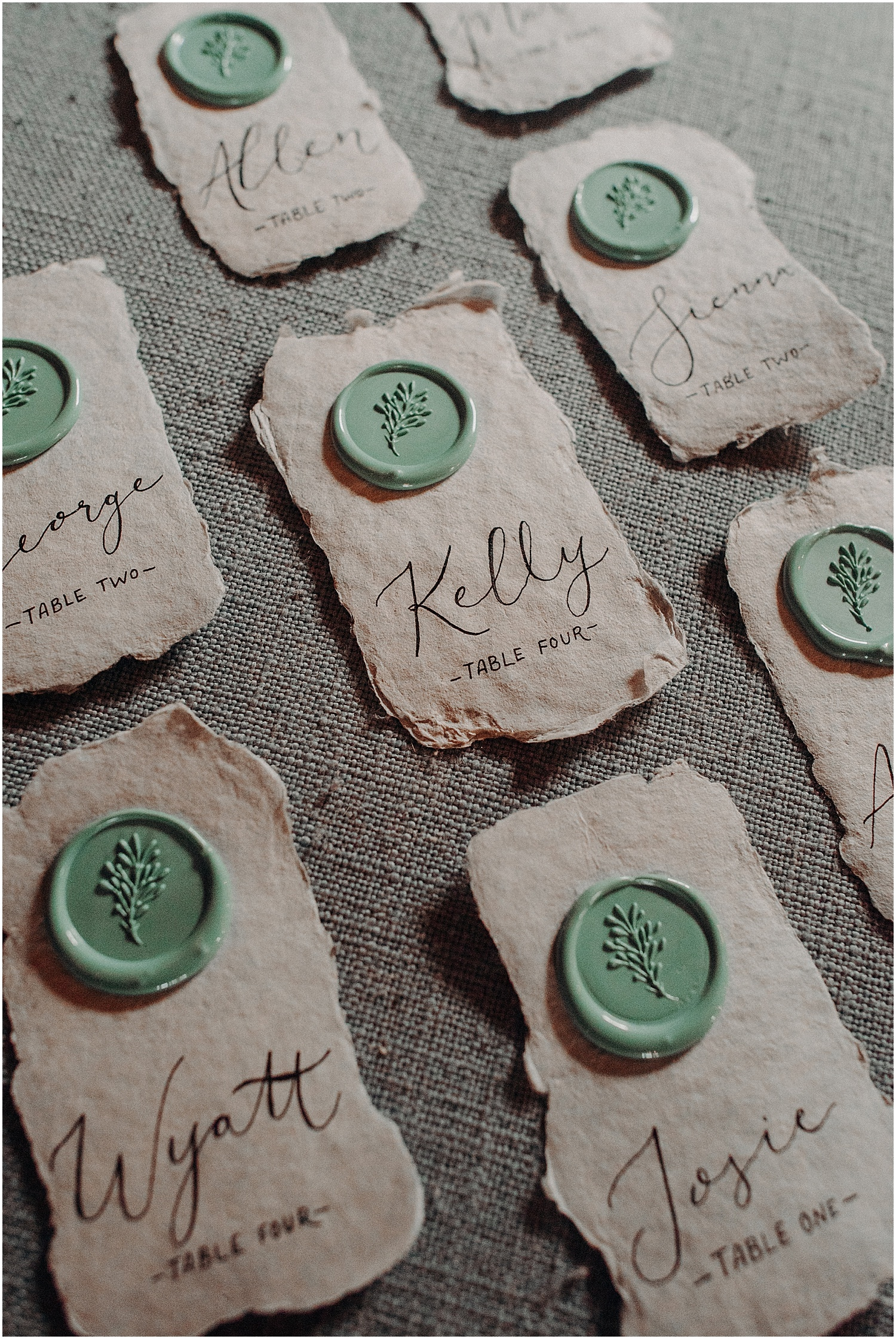 wax stamped placecards at the Wildflower Workshop 2019
