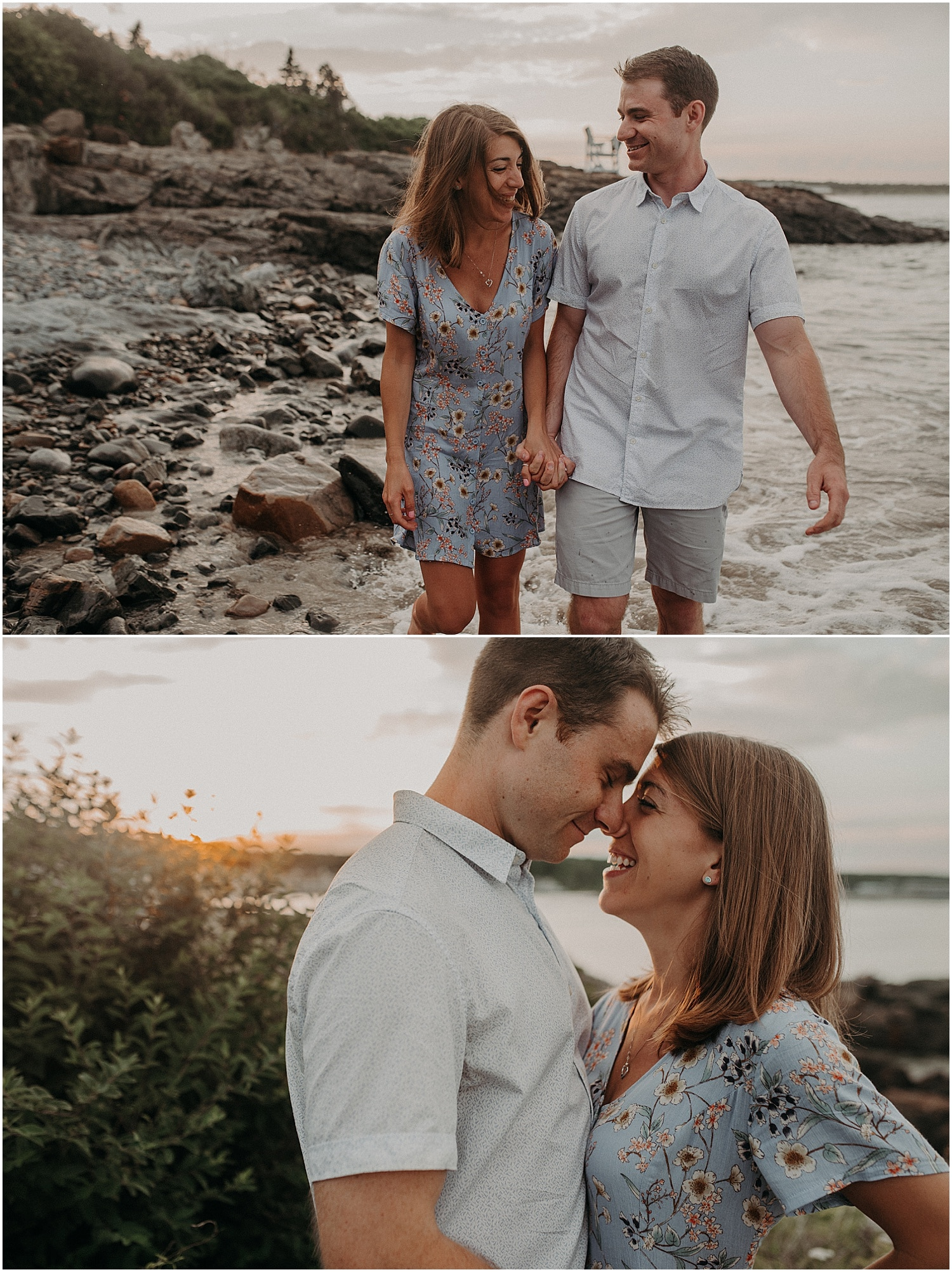 Rocky Coast Engagement Session in Maine