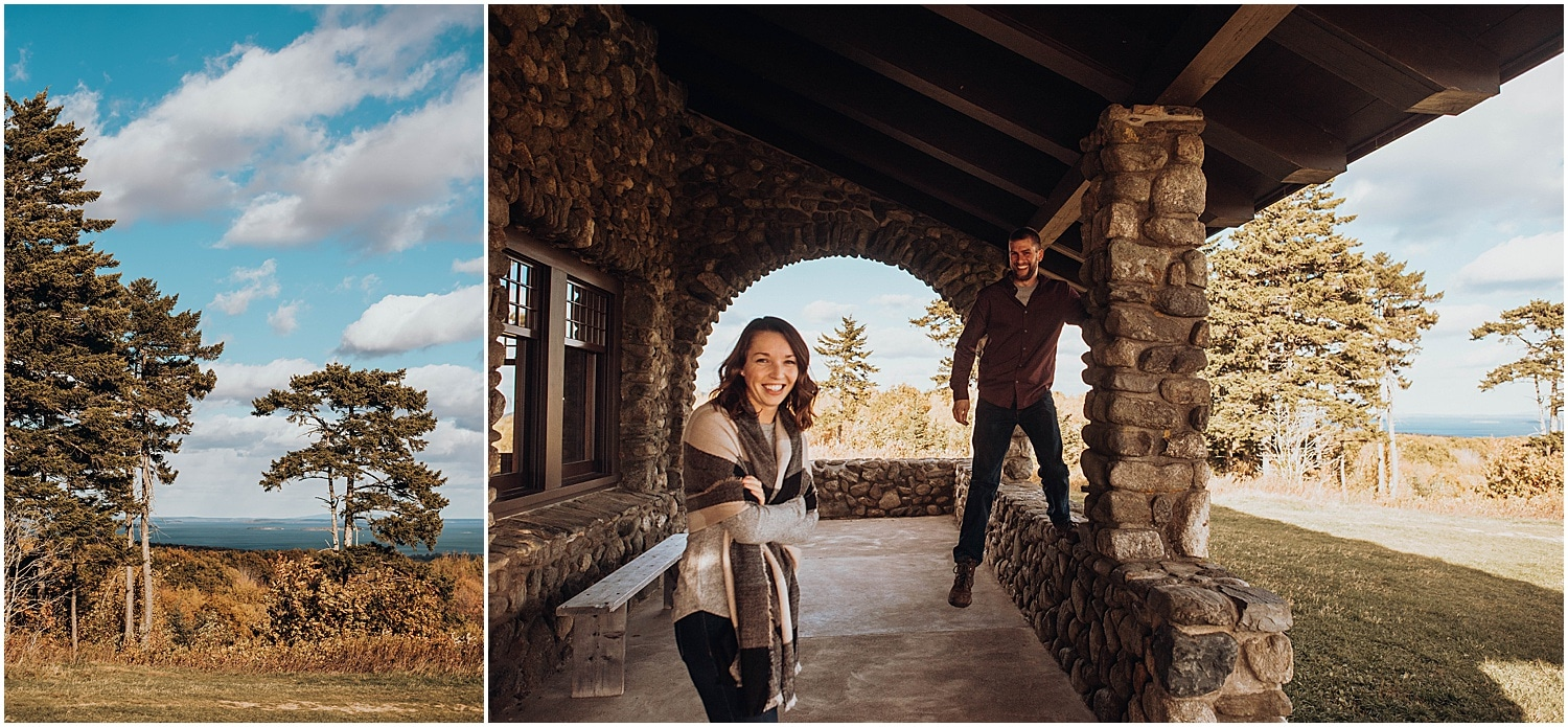 couple having fun with their Rockland Maine Engagement