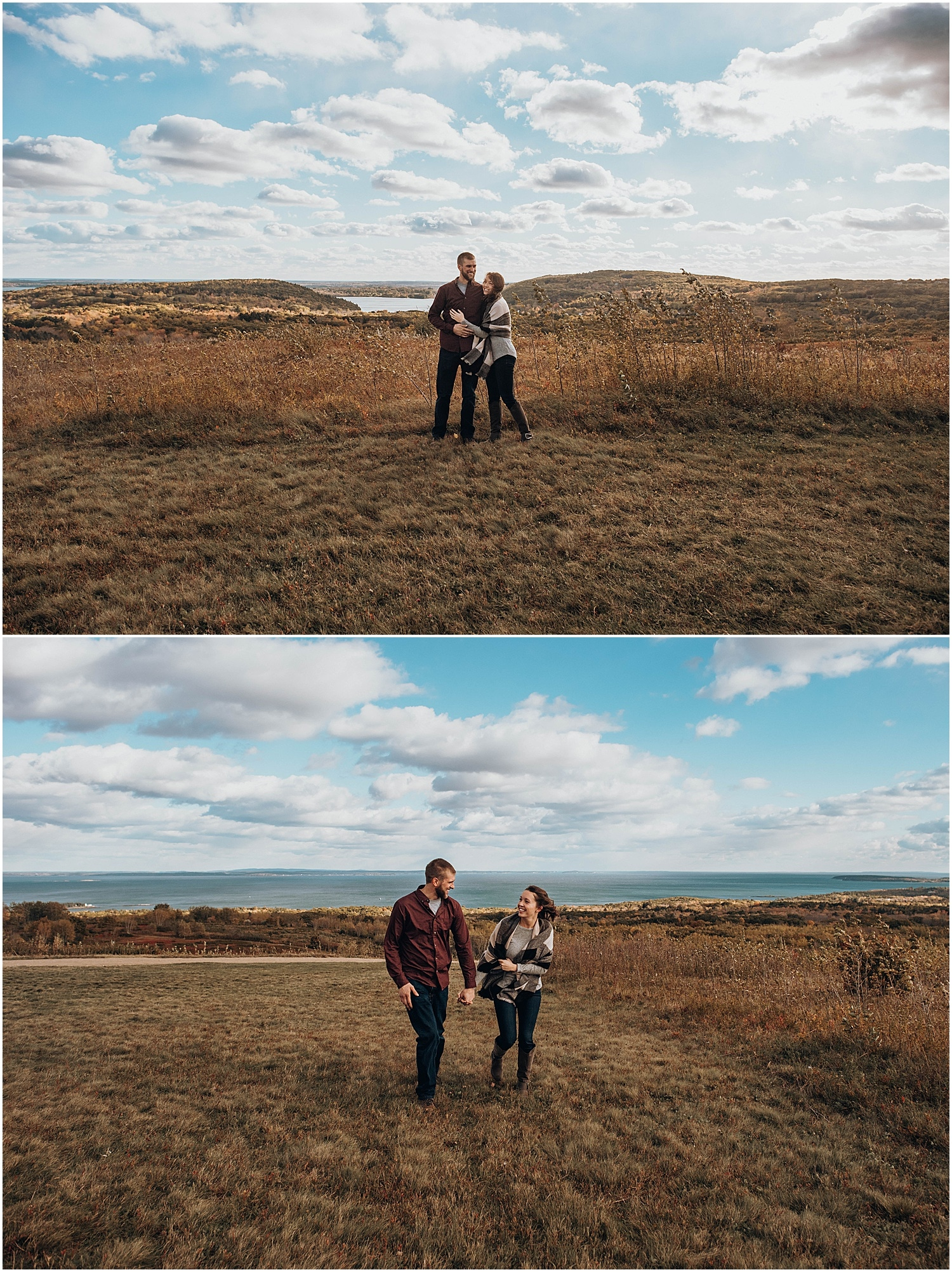 wide shots of couple walking at their Rockland Maine Engagement session