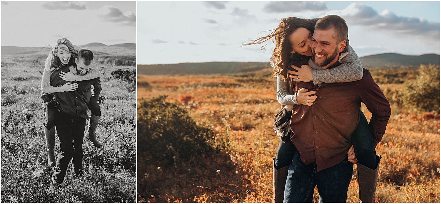 having fun in an open field during their Rockland Maine Engagement session