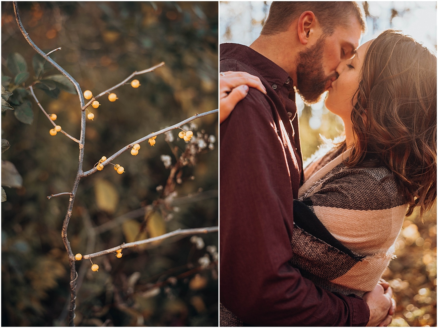 kissing photo during Rockland Maine Engagement session