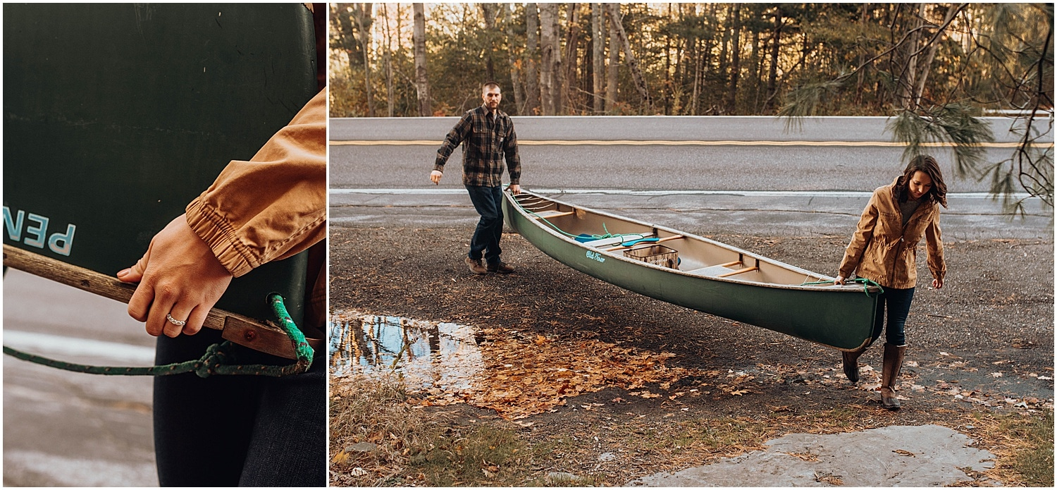 couple carrying a canoe together during their Rockland Maine Engagement photos