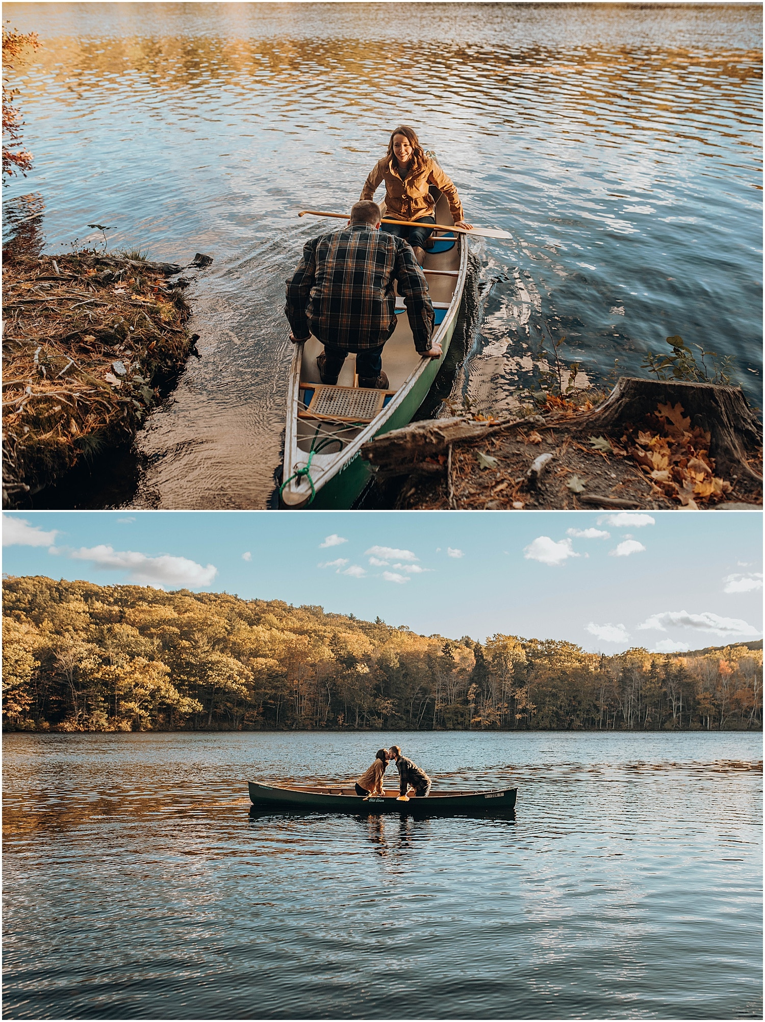 couple getting into a canoe during their Rockland Maine Engagement session