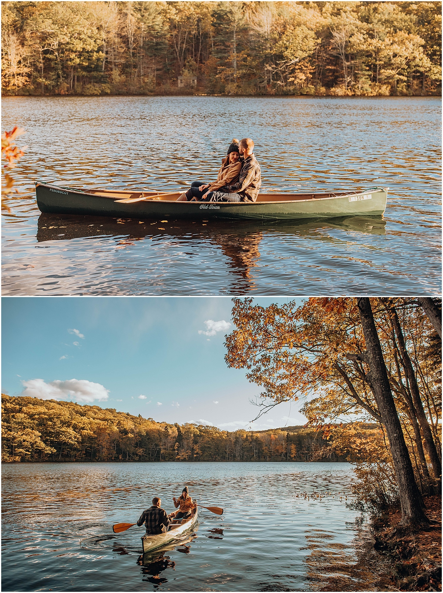 couple in a canoe on the water, snuggling