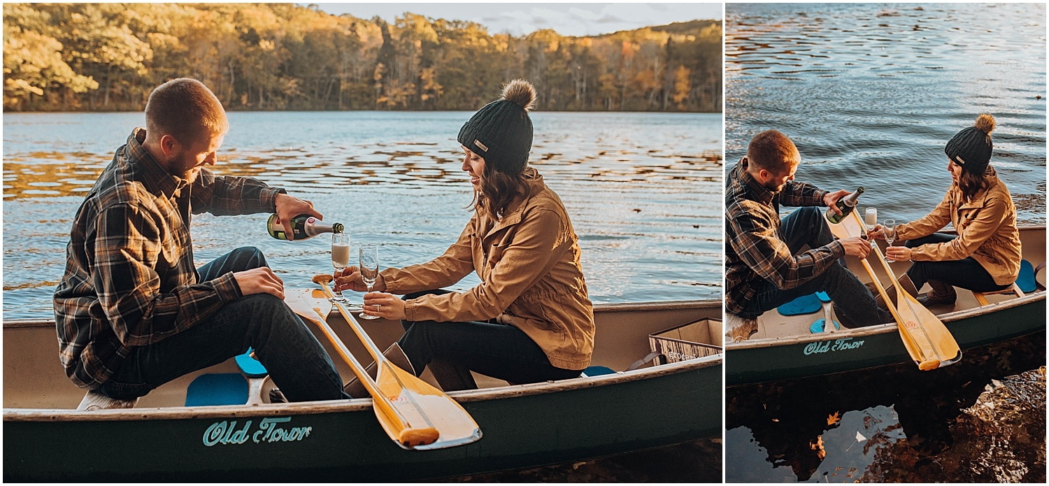 champagne in a canoe during an adventurous couple session