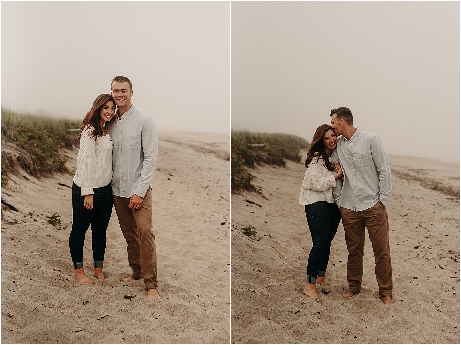 Couple on the beach in the fog at their Ferry Beach Engagement sessioon