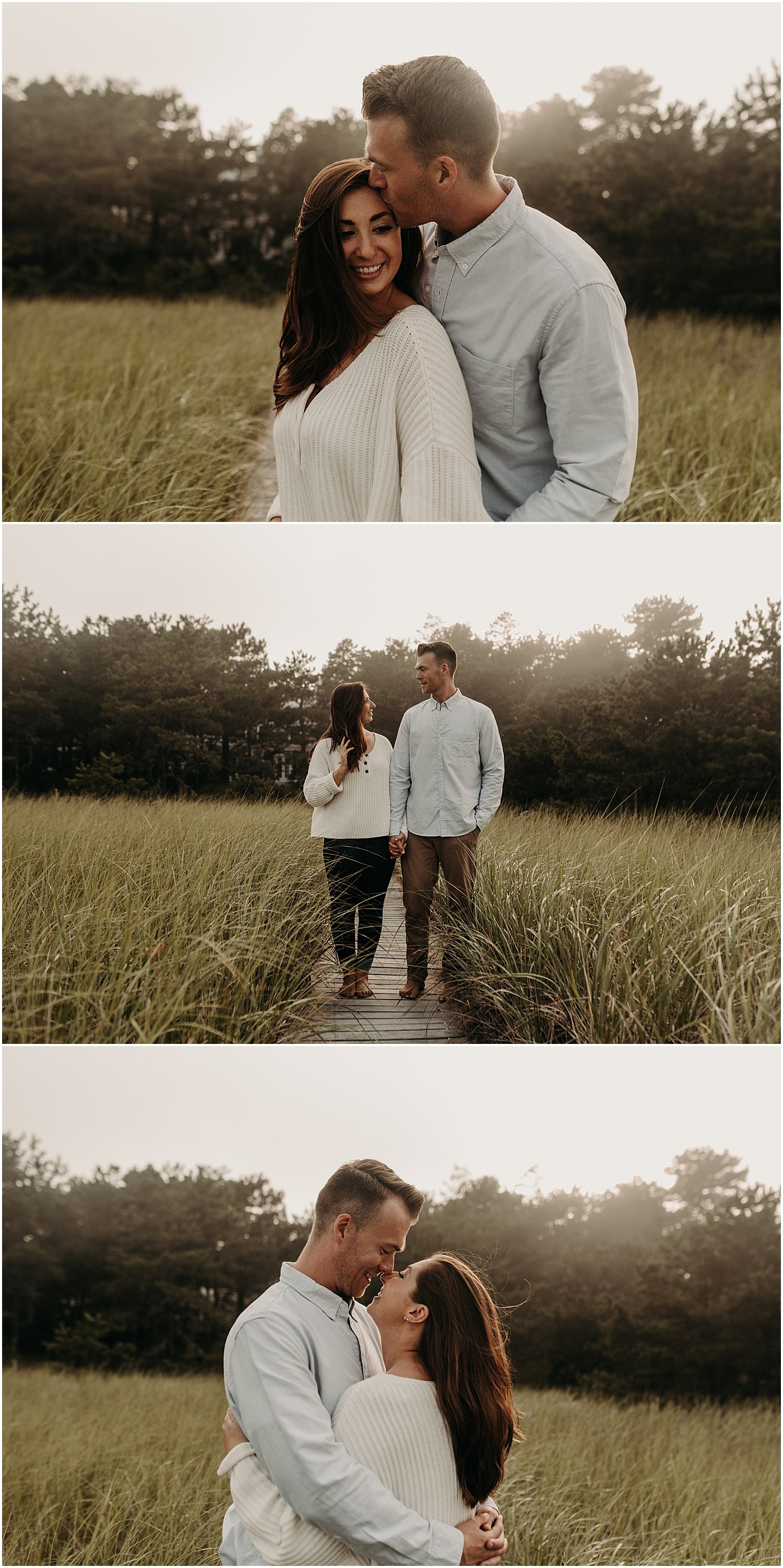 couple in the sea grass during their Ferry Beach Engagement photography